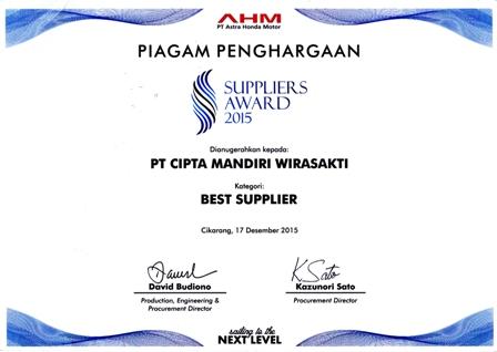 Best Supplier Award CMW 2015